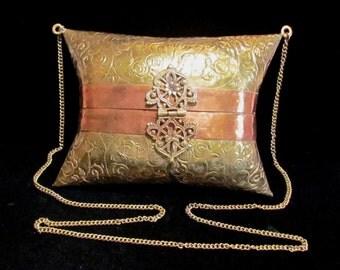 Vintage Purse Brass Purse Copper Purse 1930s Shoulder Bag Pillow Purse Wedding Purse Formal Purse Evening Purse Excellent Condition