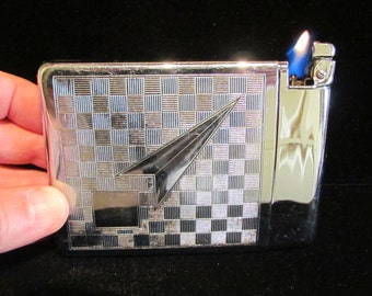Vintage 1940s Royal Case-Lite Cigarette Case and Cigarette Lighter Art Deco Case Lighter Silver Tone and Chrome Excellent Working Condition