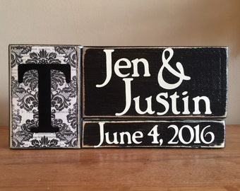 Personalized Wood Name Block, wedding gift, bridal shower gift, newlywed gift, photo prop, personalized sign, home decor, anniversary gift