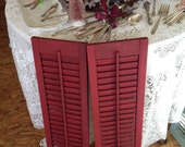Vintage annie sloan burgundy  hand painted christmas shutters cottage burgundy rustic red skinny chalk paint shutters by herminas cottage