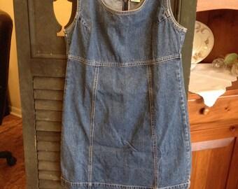 Vintage gap denim dress distressed  jean dress denim sundress by heeminas cottage