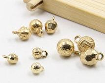 6 pcs 0.24~0.39 inch Gold Motif End Stopper Accessories Decorative Metal Shank Buttons