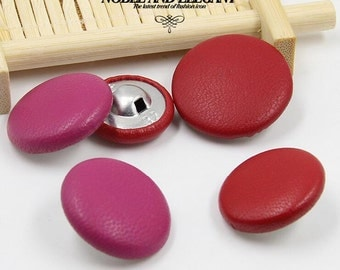 6 pcs 0.75~1.26 inch High-grade Red/Rose Red Leather Metal Shank Buttons for Jackets Coats