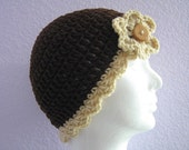 Beanie Flapper Hat Cloche Teen or Adult Brown and Tan with Flower and Button