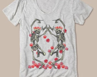 Womens Vintage Dancing Skeleton Flower Crown Boho Modern fashion Tee Bohemian Slouchy T shirt screen print Top Alternative Apparel S M L XL