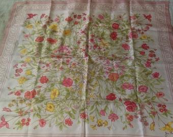 Jim Thompson Pink Yellow Flower Garden Silk Scarf
