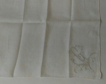 Antique White Handkerchief Embroidered White Linen 1920s