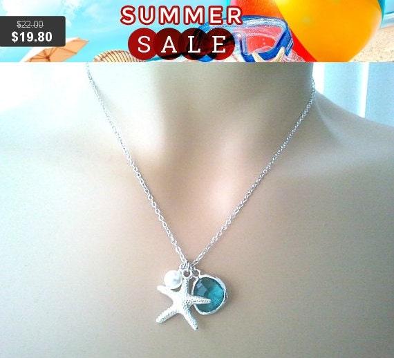 Starfish Necklace, starfish Pendant Necklace, Strand Necklace,statement Necklace, Bib, Personalized,Choker Necklace
