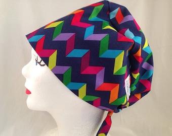 Scrub Hat Tie Back Pixie Style Multicolor Chevrons