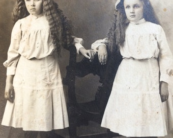 Long Hair Sisters Girls Vintage Real Photo Postcard RPPC