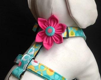 Dog Harness Flower Set  - Aqua Double Dot Adjustable Dog Harness  - Size XS, S, M, L