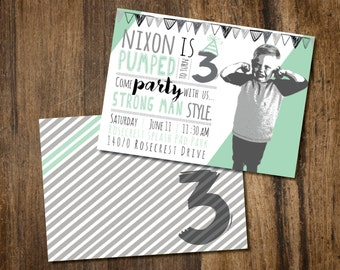 Strong Man Birthday Party Invite