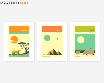 3 AFRICAN TRAVEL POSTERS (Giclée Fine Art Prints/Photo Prints/Posters)