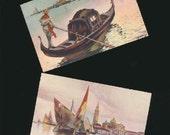 vintage postcards, Italian postcards, Sailboats, Gondolas Venice, beautiful colors, frame