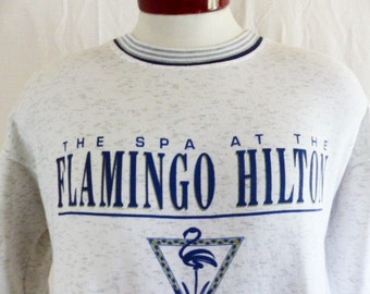 vintage 90's The Spa at the Flamingo Hilton Las Vegas white heather grey fleece graphic sweatshirt navy blue stripe crew neck cuff hem mediu