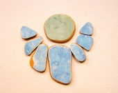 Mint Blue Sea Pottery lot, Patterned Matching Beach Pottery, Pendant/ Jewelry Supply, Mosaic/Mixed Media Supplies, Pendant/Ring Sized