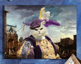 Persian Cat Fine Art Canvas Print - A Sporting Contest on the Tiber at Rome
