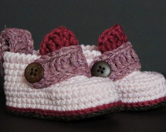Crochet Baby Shoes, Crochet Baby Booties, Baby Girl Shoes, Baby Shoes, Baby Girl Booties, Pink Baby Shoes, Pink / Brown, Baby Gift