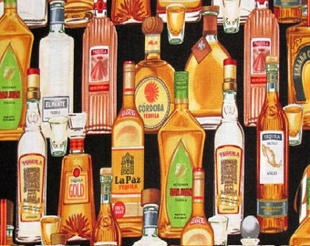 Fat Quarter Tequila Drinks Bottles Alcohol 100% Cotton Quilting Fabric