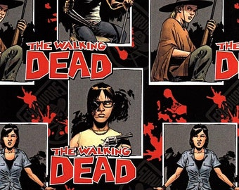 Fat Quarter The Walking Dead Zombie Ready For War 100% Cotton Quilting Fabric