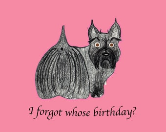 Belated Birthday Card - Scottie Dog - Dog Birthday Card