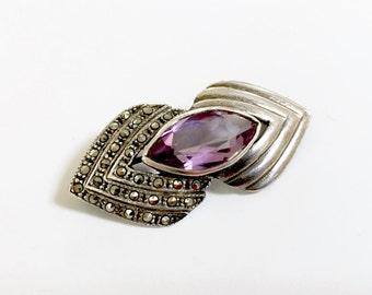 Vintage Sterling Silver Marcasite Amethyst Pin Brooch - Purple Pin - 925 -