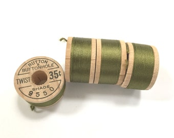 BELDING CORTICELLI - Vintage Thread - Pure Silk - Green #9550 - 10 yd Spools - Buttonhole Embroidery Ribbon Fly Tying