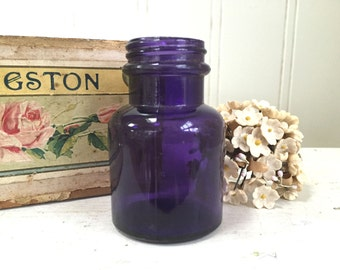 Vintage PURPLE GLASS BOTTLE - Small Ink Well Size - Amethyst Bottle