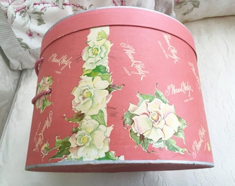 VINTAGE HOWARD HODGE Hat Box - Roses Hat Box - Floral Hat Box - Salmon - Roses - Flowers - Shabby Cottage Chic