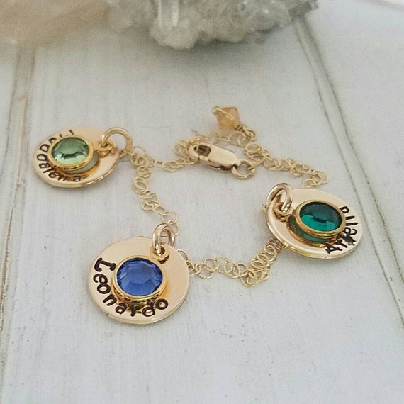 Gold name bracelet, 14kt Gold Filled, Name bracelet, 3 names, Grandmother bracelet, 3 charm bracelet, Birthstone jewelry, Mothers bracelet