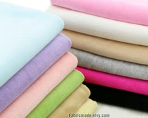 Pastel Cotton Fabric, VELVET Fabric, Baby Fabric Soft Stretch Light Aqua Blue Pink Green Yellow - 1/2 yard