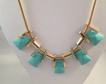 Bib Necklace with Turquoise  and Rhinestone Pendants on a Gold Tone Chain
