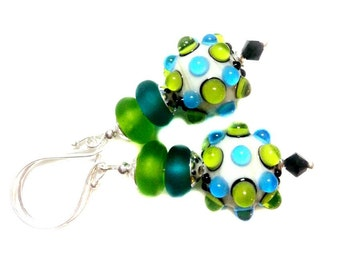 Bumpy green and teal lampwork earrings with white base, matching light green and teal lampwork, Swarovski crystal, Sterling Silver ear wires
