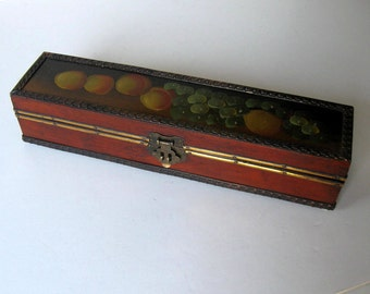 """SALE, Long Vintage hand painted box, Hinged wood box, fruit still life, footed, 12"""" x 3"""", gift idea"""