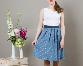 Skirt Nina with flats in jeans blue with dots
