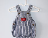 Vintage OshKosh Blue Jean Baby Romper . Baby's Striped Denim Overalls Dungarees Shorts . Size 3 to 6 Months