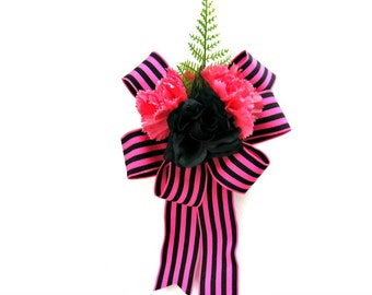 All Occasion gift bow, Special occasion bow, Pink and black gift wrapping bow, Feminine gift bow, Gift wrap bow, Birthday gift bow (GN120)