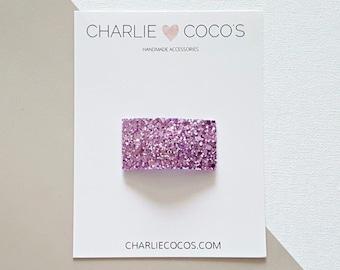 "Light Purple Glitter Snap Hair Clip // Baby Girl Glitter Snap Hair Clip by charlie coco's ""Sugar Plum"""