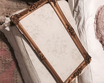Large antique french gold gilt gesso mirror picture frame barbola rose swag shabby nordic chic chippy victorian wood