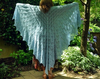 Gorgeous Huge Hand Knit Lace Shawl, Shoulder Wrap, Woolen Scarf, Pure Wool Oversized Triangular Elegant Wrap, Stole, OOAK Hand Knitting