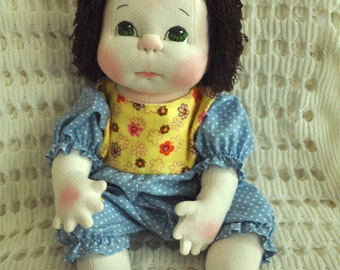 "Fretta's OOAK life size 48 cm / 19"" Soft Sculpture Baby. Weighted Empathy Doll. Textile Baby Doll"