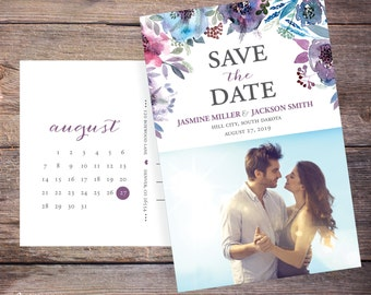 Save the Date Postcard, Save-the-Date Invite, Flowers, Floral, Card, Photo, DIY Printable, Digital File –Jasmine