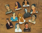 Set of 11 Laser Cut wood Frida Kahlo self portraits 3-D for mixed media art and jewelry-making Mexican Artist