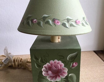 Hand Painted Lamp, Night light pink roses