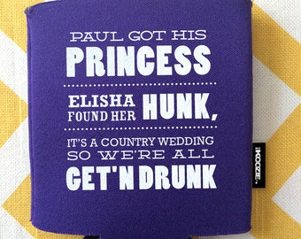 Country Wedding KOOZIER Princess And Hunk Getting Drunk Can Cooler