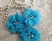 SALE-CUSTOM-Wedding Garter-Turquoise-Purple-Aqua-Navy-Chiffon-Flower-Pearl-Rhinestone-garter belt-Rhinestone Garter-Vintage-Bridal Garter