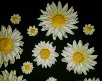 36 Edible DAISY DAISIES / Variety size any color / gum paste/fondant flowers /cake decoration / cake or cupcake topper