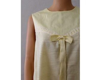Night Baby Doll dress  pale yellow cotton medium