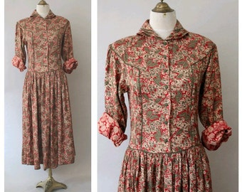1980 Winter Paisley Dress Ishwar made in India small medium