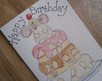 Happy Birthday mouse cake card